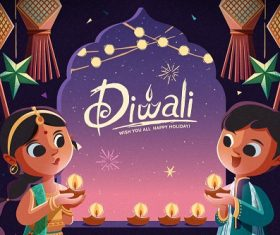 Kids Celebrating Diwali Background Vector