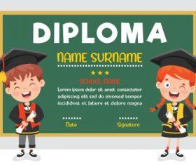 Kids Graduation  Diploma Certificate Vector