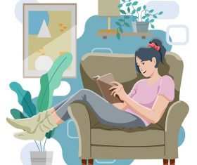 Lady Reading While Sitting At Home Vector