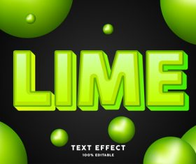 Lime editable font effect text illustration vector