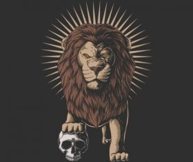 Lion with Skull Vector