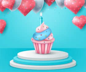 Lit birthday candle vector