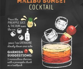 Malibu Sunset Cocktail Recipe Poster Vector