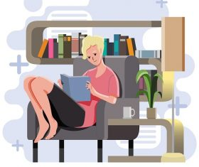Man Reading in His House with Coffee Vector