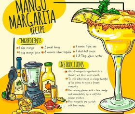 Mango Margarita Recipe Poster Vector