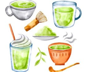 Matcha Drinks Vector