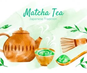 Matcha Tea Ingredients Vector