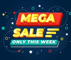 Mega sale flyer vector
