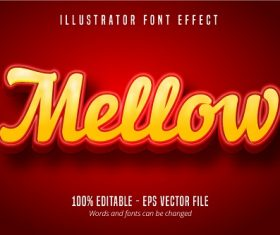 Mellow Text 3D Effect Vector