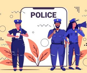 Mix Race Police Officer Team Background Vector
