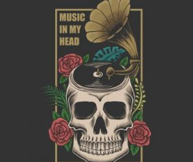 Music in My Head Skull Vector