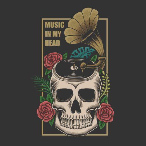 Music in My Head Skull Vector