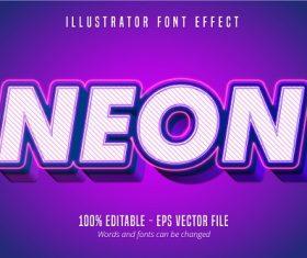 Neon Text 3D Font Vector
