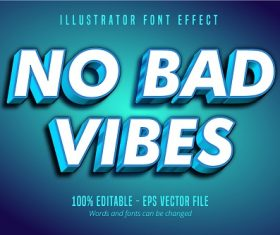 No Bad Neutral Text 3D Font Vector