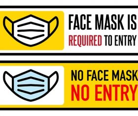 No Face Mask No Entry Sign Vector