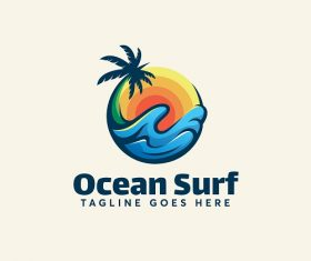Ocean Surf Tag Logo Vector