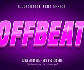 Offbeat Text Purple Effect Vector