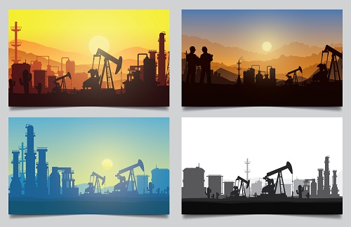 Oil Rig Industry Silhouette Vector