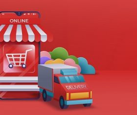 Online Shopping Banner Mobile App Vector