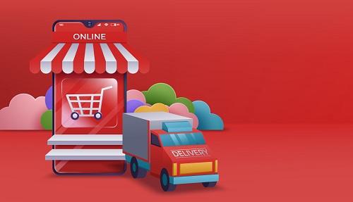 Online Shopping Banner Mobile App Vector