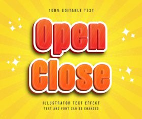 Open close editable font effect text vector