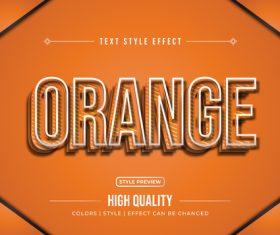 Orange editable font effect text illustration vector