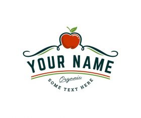 Organic Apple Farm Logo Template Vector