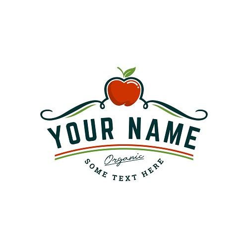Organic Apple Farm Logo Template Vector