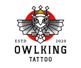 Owl King Tattoo Logo Vector