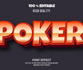 POKER editable font effect text vector