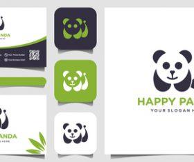 Panda business card logo vector