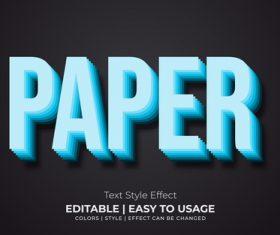 Paper editable font effect text illustration vector