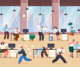 People Stress at Work Vector