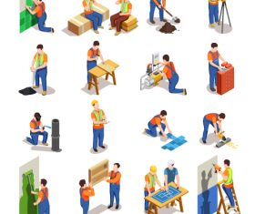 People in Construction Working Activity Vector