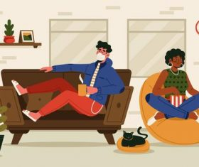 People wearing masks at home vector
