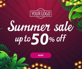 Pink Discount Banner with Tropical Leaves Vector