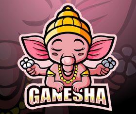 Pink Ganesha Logo Vector