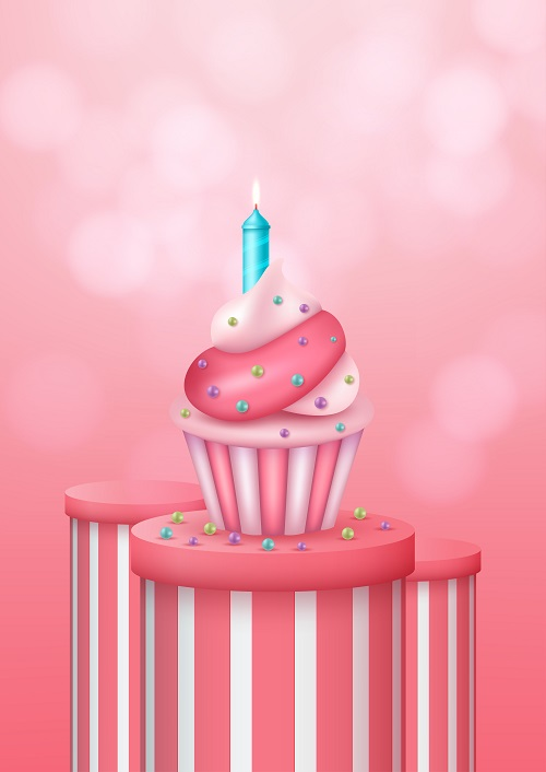 Pink and White Cupcake with Pink Background Vector