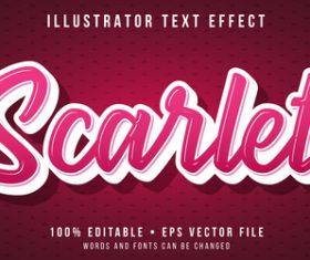 Pink editable font effect text illustration vector