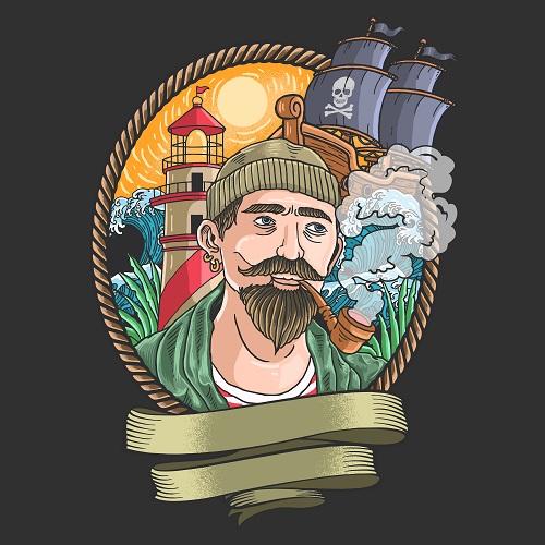 Pirate Ship Lighthouse Vector