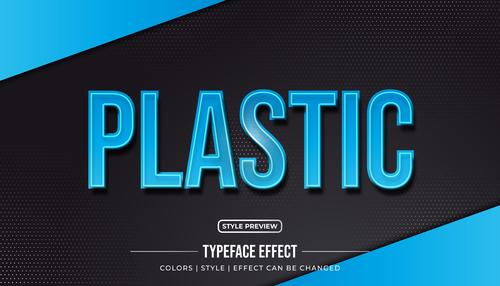 Plastic editable font effect text illustration vector