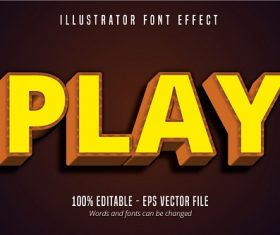 Play Text Effect Font Vector