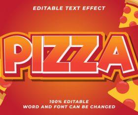 Plzza editable font effect text illustration vector