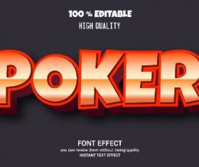 Poker Editable Text Effect Vector