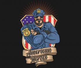 Police American Heroes Vector