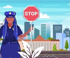 Police Officer Holding Stop Sign Bakground Vector