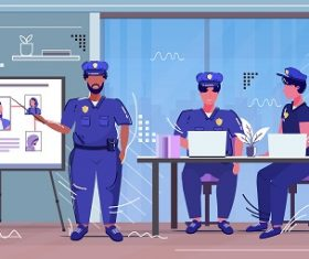 Police Officer Reporting Background Vector