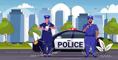 Police Officer Using Radio Background Vector