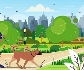 Police Officer Walking his Dog Background Vector