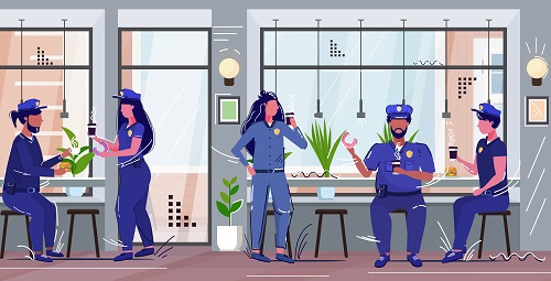 Police Officers on Break Background Vector
